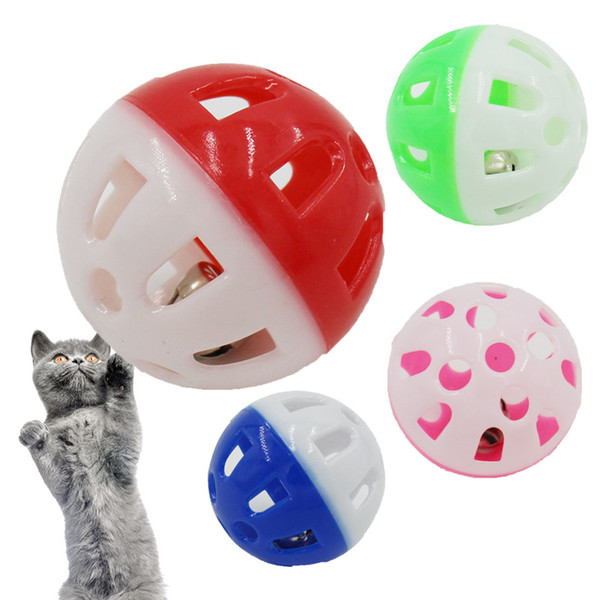 top popular Pet Toys Hollow Plastic Pet Cat Colourful Ball Toy With Small Bell Lovable Bell Voice Plastic Interactive Ball Puppy Playing Toys HH9-3604 2021
