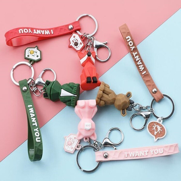 top popular Party Favor PVC Geometric Cartoon Keychain Funny Dinosaur Women Jewelry Cute Charm Bag Keys Chain Car Key Ring Accessories WY823Q1 2021