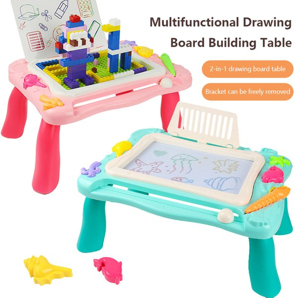 best selling Blocks Study Table Magnetic Drawing Board Bricks Model Building Kits Classic Compatible Educational Toys For Children Kids Boy Girl