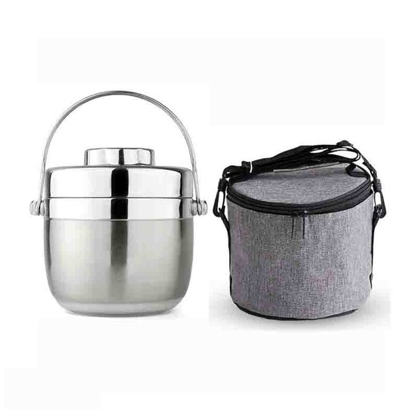 best selling Insulated Lunch Box Stainless Steel Travel Picnic School Office 2-layer Food Container Case Adults Kids Portable red Bento Box 201210