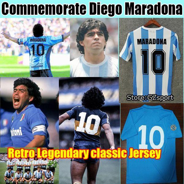 best selling Commemorate Maradona Retro Napoli Napoles Boca juniors Maradona Soccer Jersey 1978 1981 1986 1987 Vintage football shirt Kit Classic Uniform