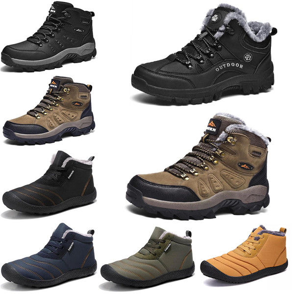 best selling New Winter leisure sports cotton shoes Mens platform warm and velvet padded snow shoes Outdoor lightweight high-top hiking shoes 39-45