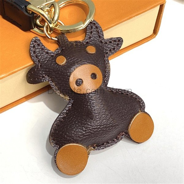best selling PU Leather OX Cattle Cow Keychain Fashion Men Car Keyring Key Rings Holder Women Bull Ox Pendant Christmas New Year Gift with box