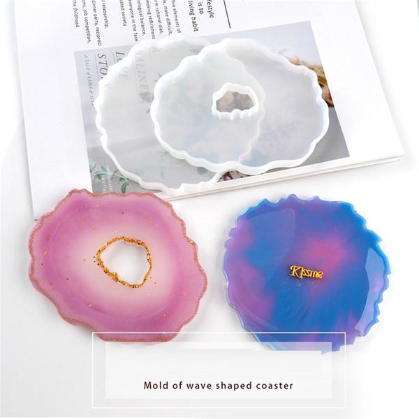 top popular Epoxy Resin Silicone Molds Irregular Silicone DIY Wave Coaster Mold Handmade DIY Crafts Coaster Plate Silica Gel Mold GWA3484 2021