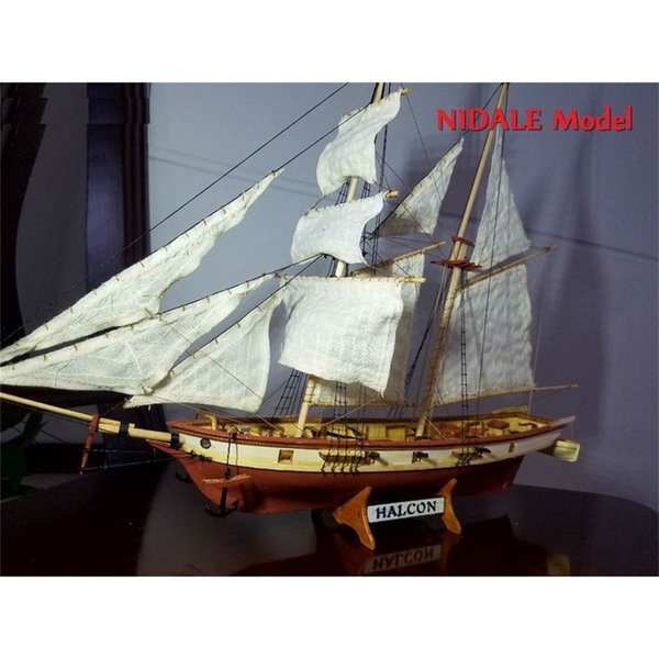 best selling New version Spanish Baltimore Schooner Ship model Kits Halcon Retro cannons luxurious sailboat model Offer English Instruction Y200428