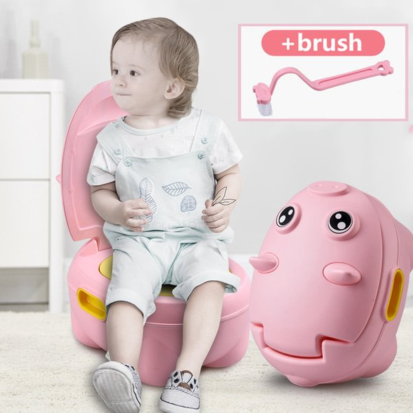 best selling New Cartoon Pig Baby Potty Training Seat Baby Boys Toilet Kids Toilet Trainer Bedpan Portable Toilet Backrest Urinal For Kids LJ201110