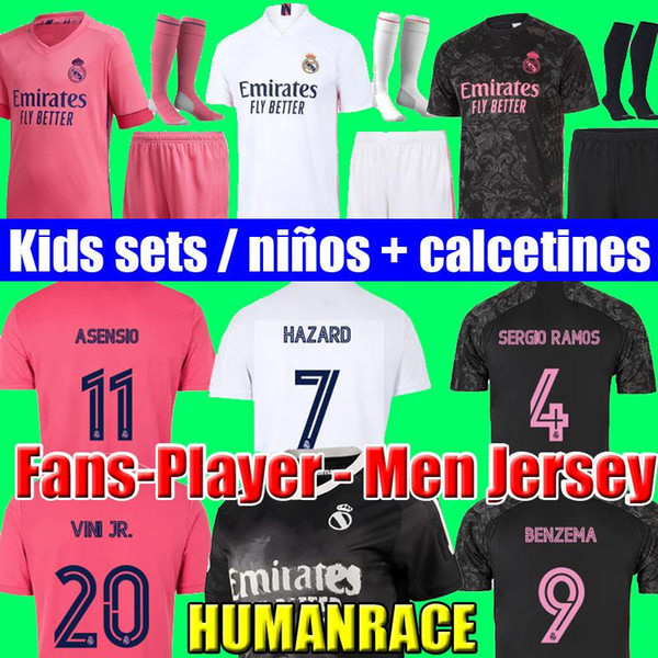 top popular SERGIO RAMOS HAZARD BENZEMA Real Madrid 20 21 soccer jersey 2020 2021 ASENSIO MODRIC MARCELO football top shirt men kids kits sets socks 2021