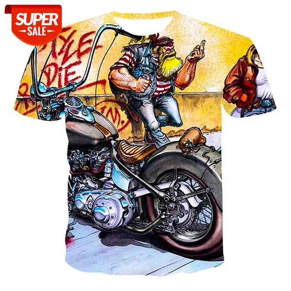 top popular New T-shirt men's high-quality men's T-shirt short-sleeved explosive 3D printing street motorcycle fashion handsom #AI34 2021