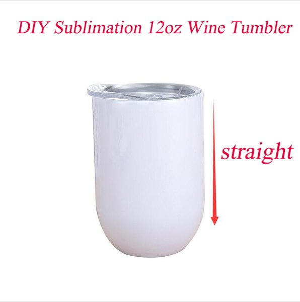 best selling DIY Sublimation 12oz Wine tumbler Stainless Steel Straight Wine Glasses Egg Cups Stemless Wine Glasses with lid Vacuum Egg Shape