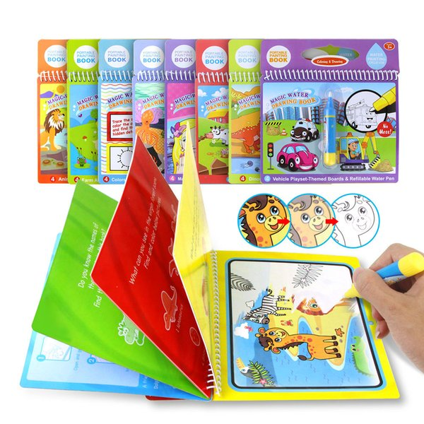best selling Magic Water Drawing Book Coloring Book Doodle Magic Pen Painting Drawing Board For Kids Toys Birthday Gift 8 styles Z1054
