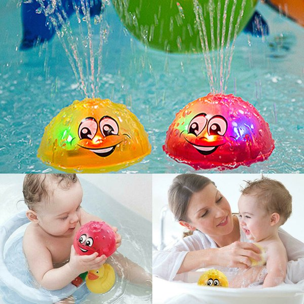 top popular Cute Cartoons Infant Children's Electric Induction Sprinkler Water Spray Lamp Ball Baby Bath Toy Kids Music Water Game Toys Q1217 2021