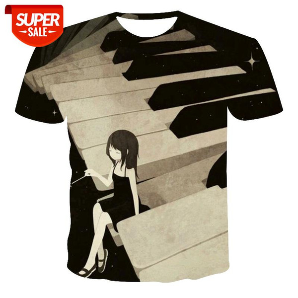 best selling New T-shirt Men's High Quality Men's T-shirt Short Sleeve Piano Pattern 3D Printing Fashion Handsome #8F7K