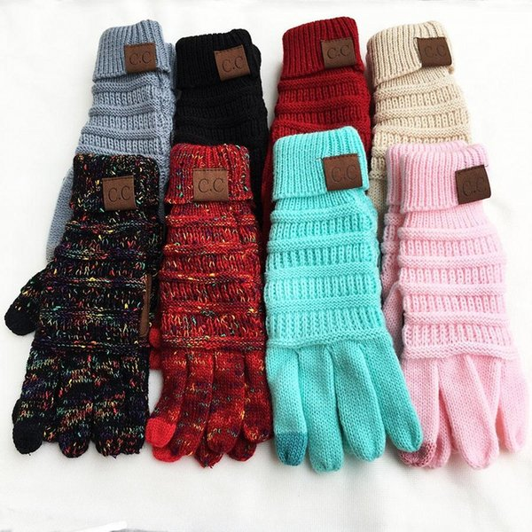 top popular CC Knitting Touch Screen Glove Capacitive Gloves CC Women Winter Warm Wool Gloves Antiskid Knitted Telefingers Glove Christmas Gifts 2021