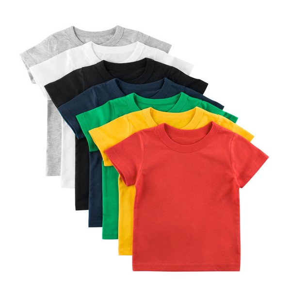 top popular Kids Boys Leisure T-shirts Solid Colors Short Sleeve Tops Toddler Girls Cotton Clothes Teens Casual Outfits 1-9T 06210202 2021
