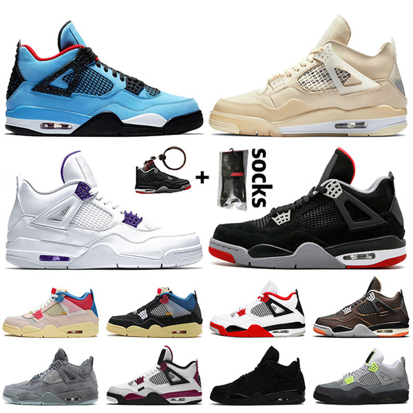 best selling 2021 Top New Fire Red Jumpman 4 Mens Womens Travis 4 4s SAIL Court Purple Bred Basketball Shoes Starfish Black Cat trainers sneakers