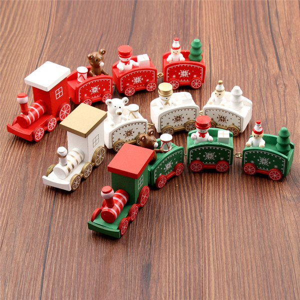 top popular New Christmas Wooden Train Children Christmas Day Gifts Green White Red Christmas Wood Train Snowflake Painted Xmas Decor Ornament 2021