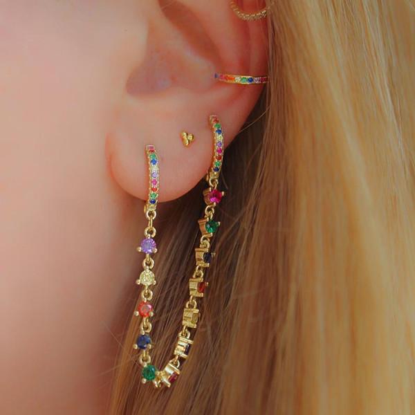 best selling tassel chain earring with cz mini hoop gold plated fashion european women ladies gorgeous fashion trendy earrings jewelry