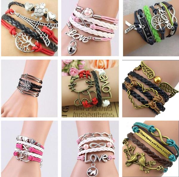 best selling 2020 30 styles bracelets infinity bracelets Love Believe Pearl Friendship Charm Multilayer Charm Leather Bracelets for women