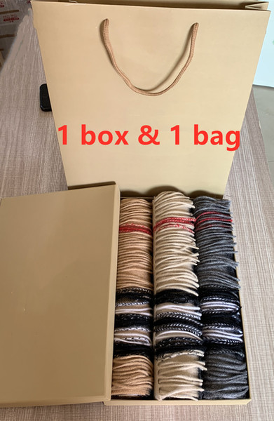 best selling With Gift Box & Paper Bag 2020 Winter Ladies Scarfs High End 100% Cashmere Scarf For Women and Men Large Classic Check Shawls Scarves