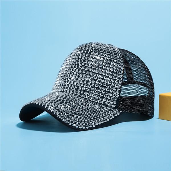 Black + Silver Diamond Net Cap
