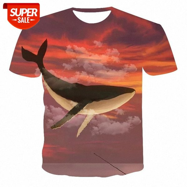 top popular New product t-shirt men high quality men's t-shirt ladies whale oil painting 3D printing men's #Lk34 2021