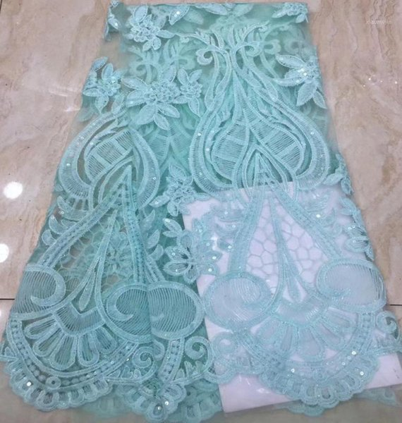 top popular African Tulle lace Embroidered net Lace Fabric fashion light green French Fabric With Sequins High Quality1 2021