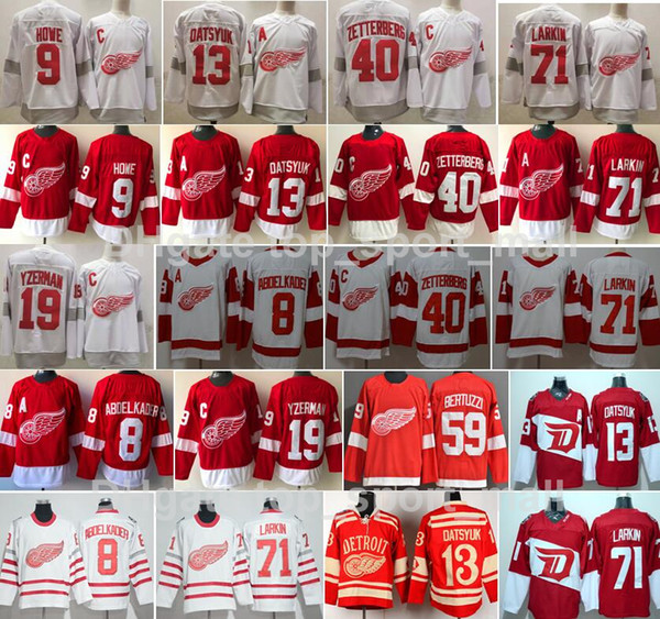 top popular Reverse Retro Detroit Red Wings Jersey Hockey Dylan Larkin Pavel Datsyuk Steve Yzerman Sergei Fedorov Bertuzzi Anthony Mantha Gordie Howe 2021