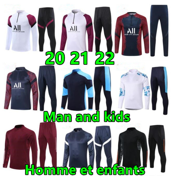 best selling 2020 21 Man and kids soccer training suit enfant maillot de foot Football jacket jogging child tracksuit