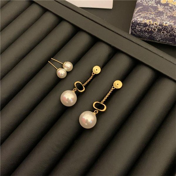 top popular Retro Pearl Earrings Letters Tassel Designer Earring Women Brand Earrings Stud Jewelry Accessories Luxury Pendant Earrings 2021