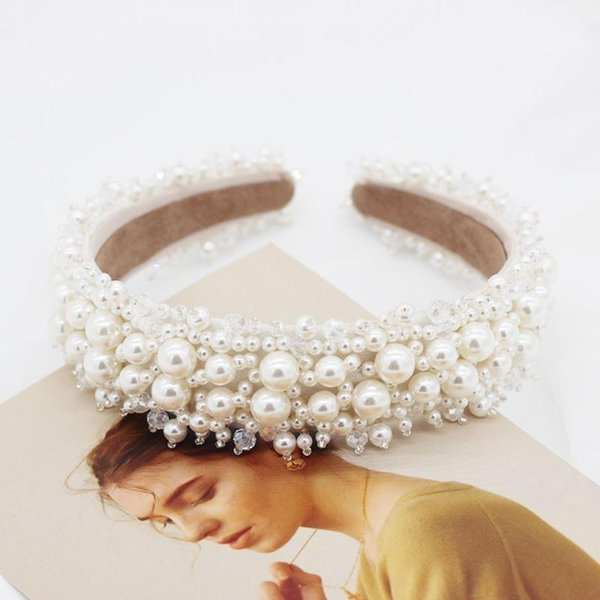 best selling Street beat gorgeous wild exaggerated headband New Korean fashion small grain size pearl flower catwalk headband 5201