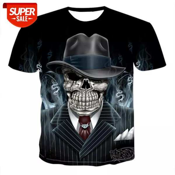 top popular 2020 Skull T shirt Men Skeleton T-shirt Punk Rock Tshirt Gun T shirts 3d Print T-shirt Vintage Gothic Mens Clothing Summer tops #fo4a 2021