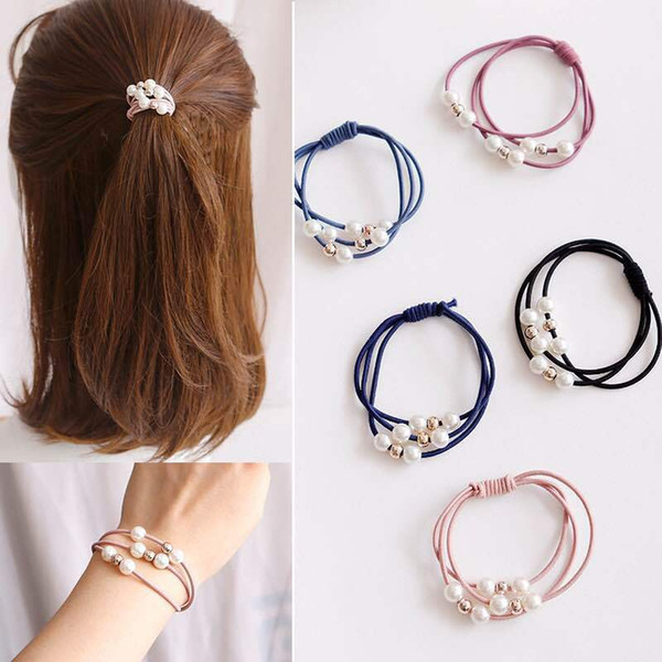 best selling Multi-layer ring showing temperament pearl tie head rope Korean headdress hair accessories, basic tie hair rubber band hair rope