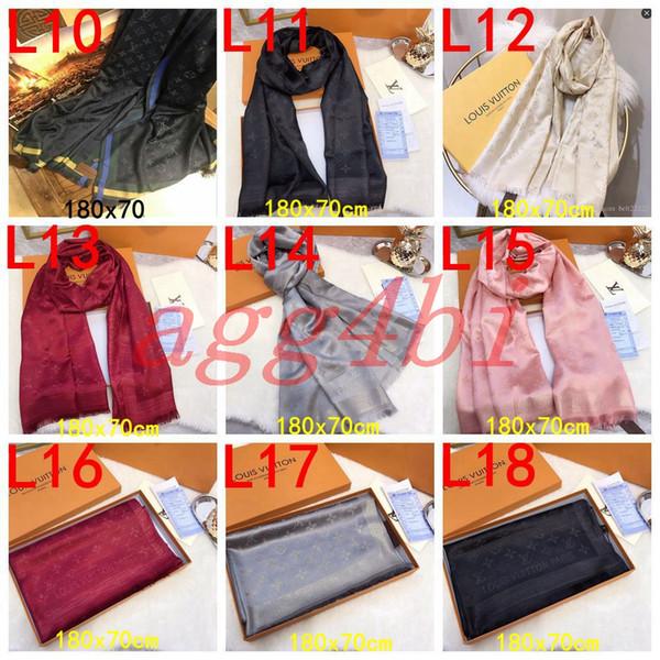 best selling 2018 Winter LOGOMANIA SHINE Brand Luxury Scarf Women and Men Two Side Black Red Silk Wool Scarfs Fashion Designer Flower Scarves 1010