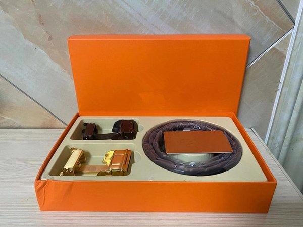 top popular top 2020 casual business belt suit wholesale men belts womens belts leather belt Metal letter buckle width 3.5cm Gift Boxes 2021