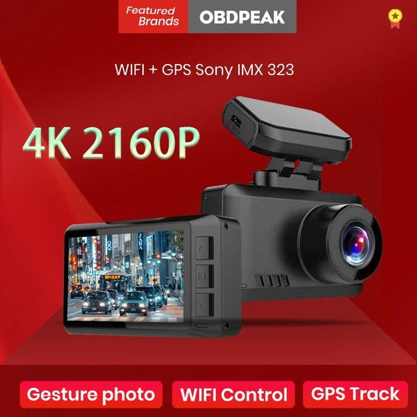 best selling 4K Dash Cam WiFi GPS Track Car DVR Ultra HD 3840*2160P Gesture Photo Auto Camera Video Recorder 24H Parking With Rear Camera