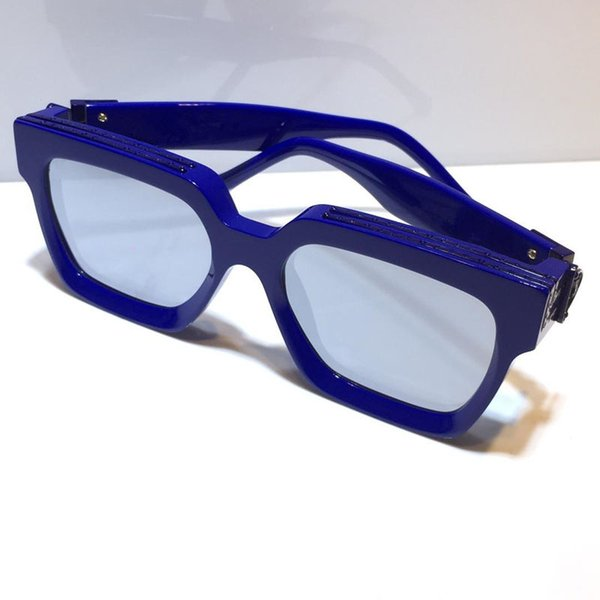 blue frame silver mirror lens