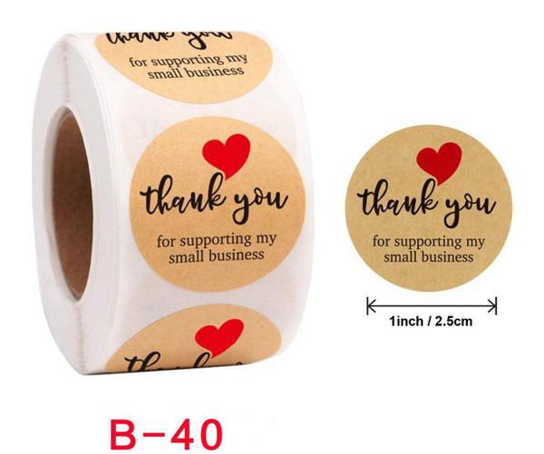 top popular 500pcs Roll 1 inch Thank You Handmade Round Adhesive Stickers Label For Holiday Presents Business 2021