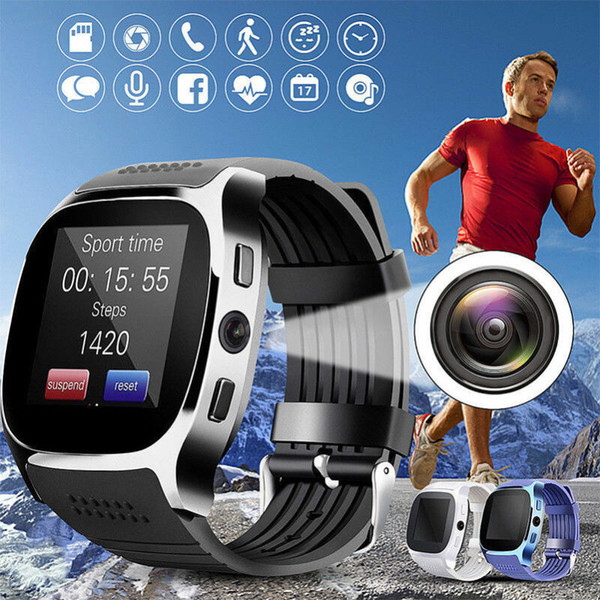 best selling T8 Bluetooth Smart Watch With Camera Phone Mate SIM Card Pedometer Life Waterproof For Android iOS SmartWatch android smartwatch #010