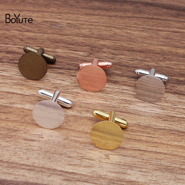 best selling BoYuTe (200 Pieces Lot) Metal Brass French Cuff Links with 15MM Flat Base Diy Hand Made Cuffllink Settings Jewelry Accessories