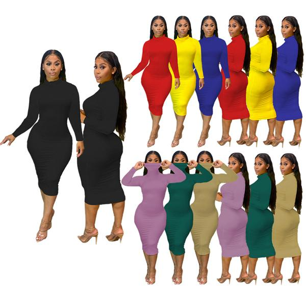 top popular Europe and America Autumn And Winter Large women's 2020 Tight dress Designer Fashion casual Sexy Slim Solid color Long sleeve dresses 2021