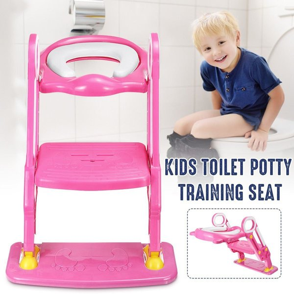 top popular Portable Pink Baby Potty Training Seat Children's Potty With Adjustable Ladder Infant Toilet Seat Toilet Training Folding Seat LJ201110 2021