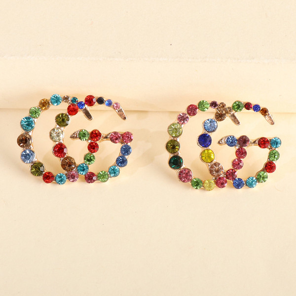 best selling Off 80%54301 Korean fashion G letter personalized versatile glass color diamond trend Japan and South Korea earrings