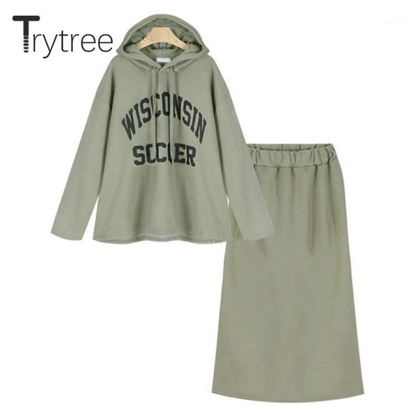trytree 2019 autumn winter two piece set hooded drawstring letter sweatshirt + skirt solid fashion mid-calf set 2 piece1, White