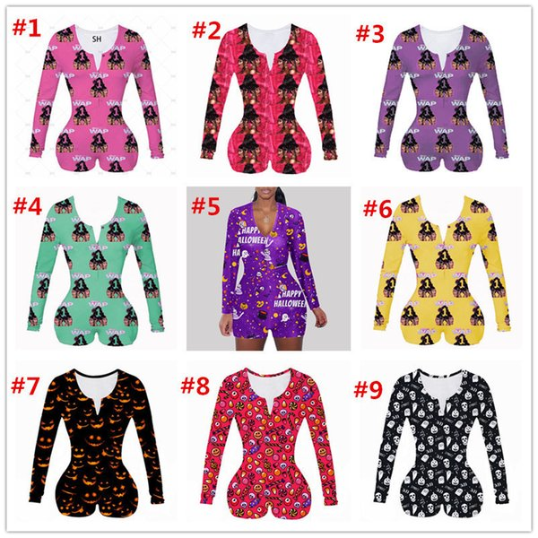 top popular Women Jumpsuit Sexy Slim Casual Pattern Printed Long Sleeve Shorts Ladies New Fashion Home Onesies Rompers 2020 2020