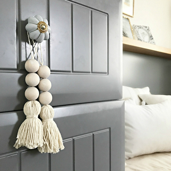 best selling Natural Wooden Bead Chain with Tassel Garland Northern Europe closet Door handle decoration Hand Made Wood Farmhouse Decoration Wall hanging