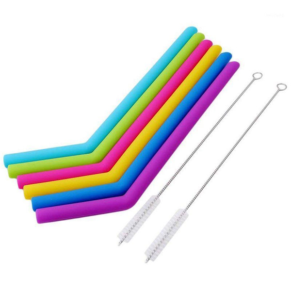 top popular 6pcs set Reusable Silicone Straws For Birthday Wedding Parties BBQ With 2 Brush1 2021