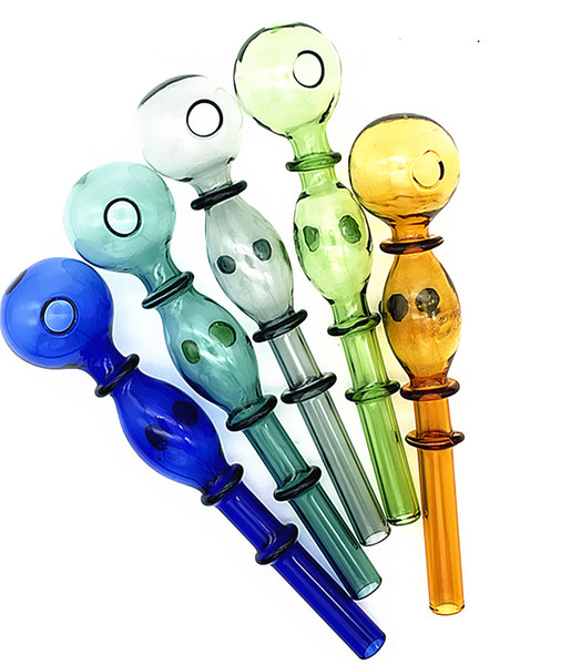 top popular QBsomk Color double bubble glass straight pot Wholesale Glass bongs Oil Burner Glass Pipes Water Pipes Oil Rigs Oil 2021