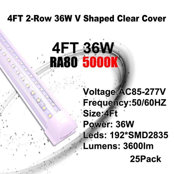 5000K 4 피트 36W V - 모양의 LED 튜브