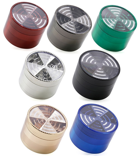top popular TOP Window Signal Shape Tobacco Crushers Grinders Metal 4 Pieces 63mm Zinc Alloy Herb Grinder Smoking Accessories A1988 20pcs 2021
