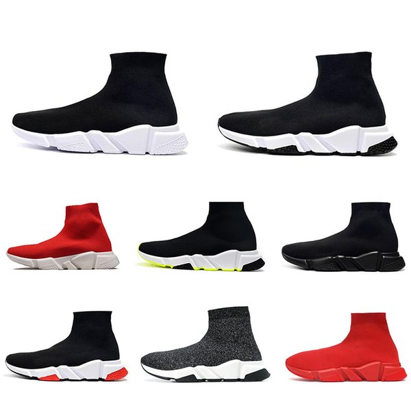 best selling Top quality Speed Sock shoes Casual Shoes Cheap Discount Black White Red Neon Print Fashion Sock Sneakers Eur 36-47